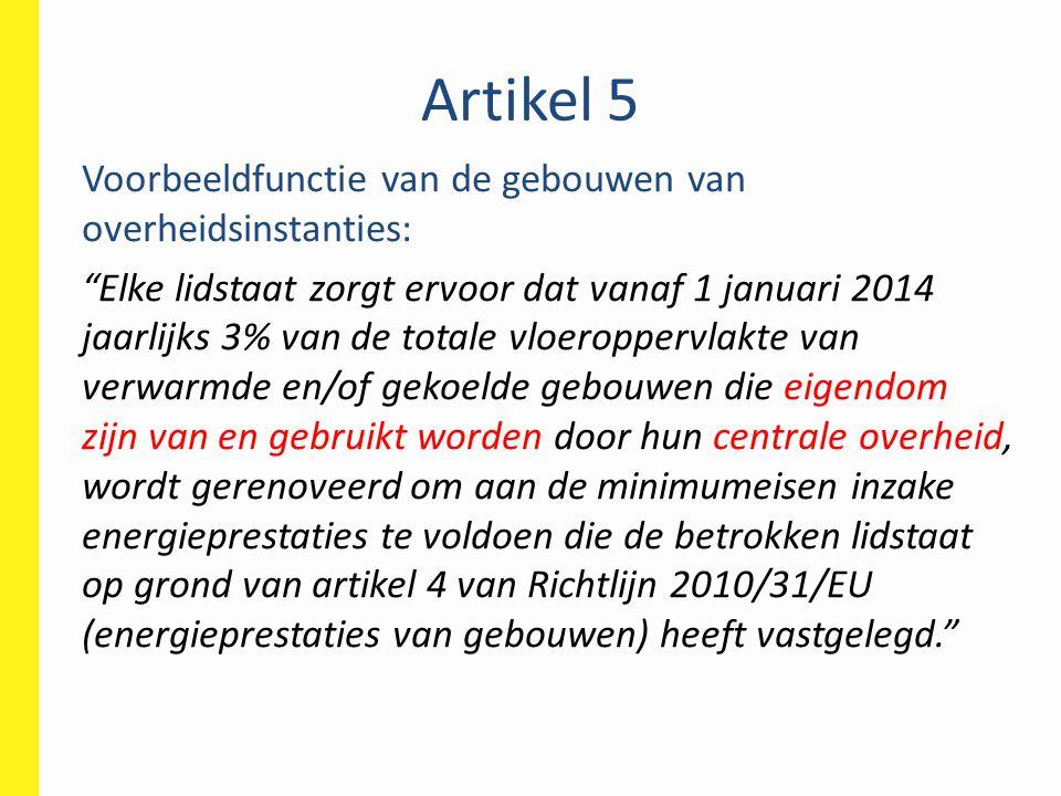 """Artikel 5 Voorbeeldfunctie van de gebouwen van overheidsinstanties: """"Elke lidstaat zorgt ervoor dat vanaf 1 januari 2014 jaarlijks 3% van de totale vl"""