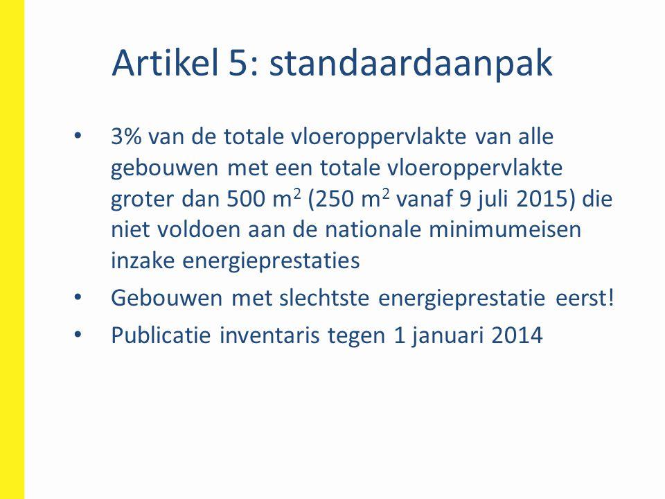 Artikel 5: volgende stappen • 30 april 2014: indienen NEEAP bij EC • Vlaams NEEAP: 28 maart 2014 • 30 september 2014: entiteiten rapporteren in de Vastgoeddatabank • Tegen eind 2014: evalueren stand van zaken + voorstel bijkomende maatregelen indien nodig • 30 april 2015: rapportering aan EC