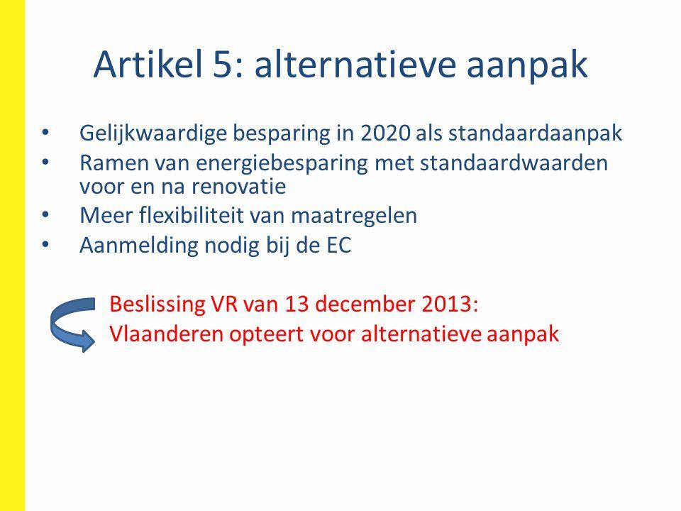 Artikel 5: alternatieve aanpak • Gelijkwaardige besparing in 2020 als standaardaanpak • Ramen van energiebesparing met standaardwaarden voor en na ren