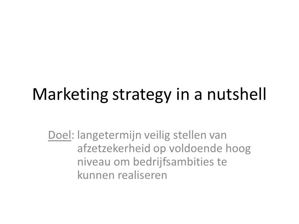 Marketing strategy in a nutshell Doel: langetermijn veilig stellen van afzetzekerheid op voldoende hoog niveau om bedrijfsambities te kunnen realisere