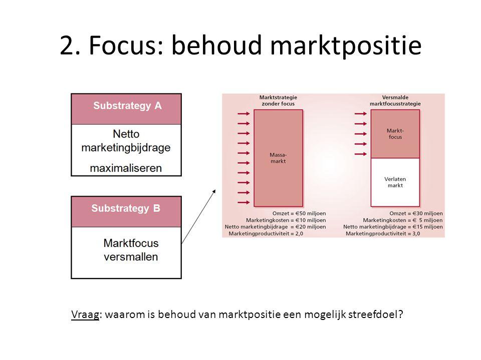 2. Focus: behoud marktpositie Vraag: waarom is behoud van marktpositie een mogelijk streefdoel?