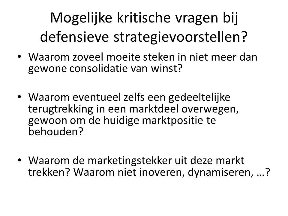 Mogelijke kritische vragen bij defensieve strategievoorstellen? • Waarom zoveel moeite steken in niet meer dan gewone consolidatie van winst? • Waarom