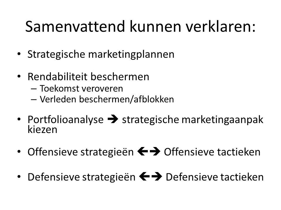 Samenvattend kunnen verklaren: • Strategische marketingplannen • Rendabiliteit beschermen – Toekomst veroveren – Verleden beschermen/afblokken • Portf