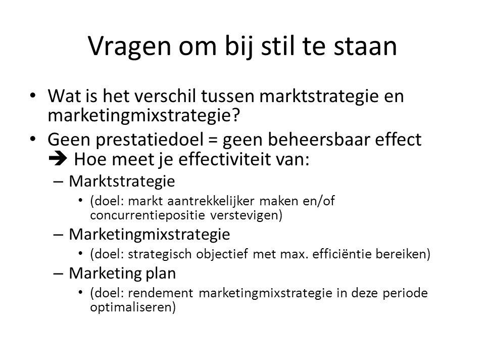 Vragen om bij stil te staan • Wat is het verschil tussen marktstrategie en marketingmixstrategie? • Geen prestatiedoel = geen beheersbaar effect  Hoe