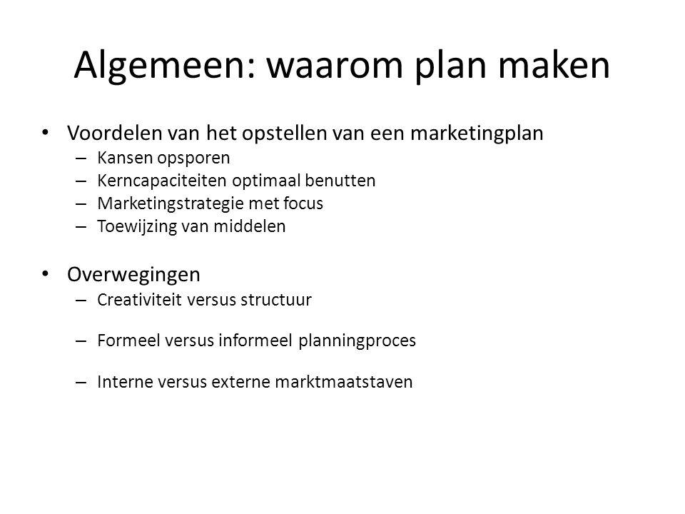 Algemeen: waarom plan maken • Voordelen van het opstellen van een marketingplan – Kansen opsporen – Kerncapaciteiten optimaal benutten – Marketingstra