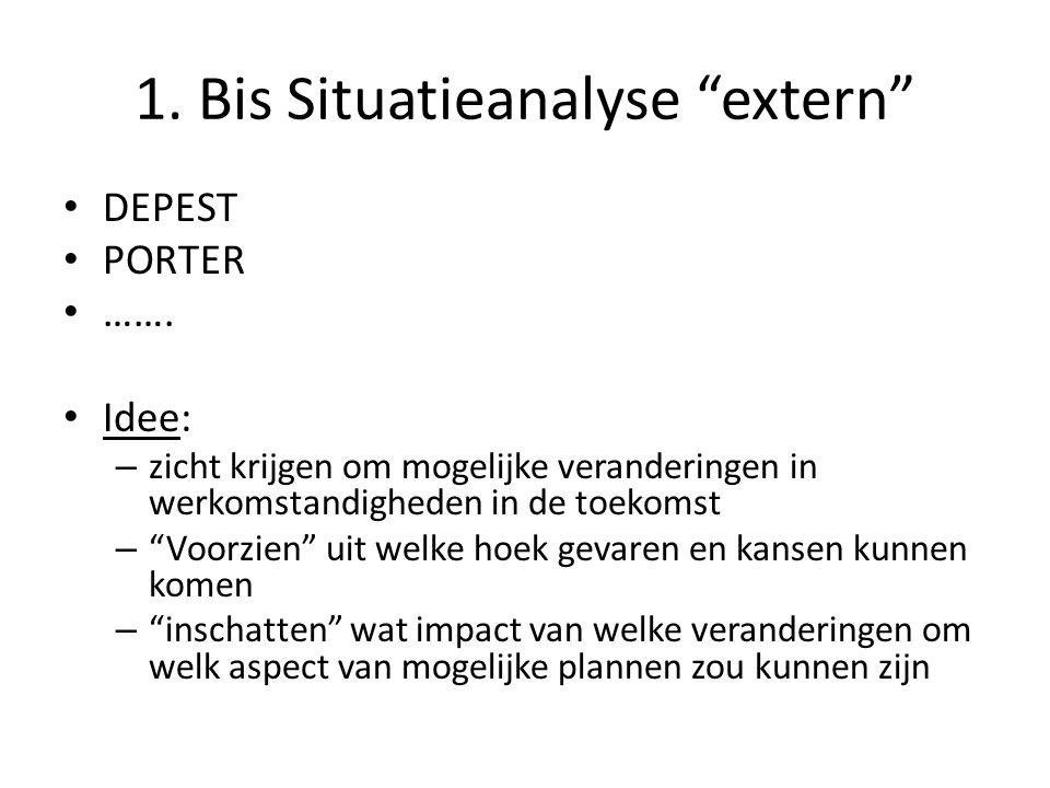 """1. Bis Situatieanalyse """"extern"""" • DEPEST • PORTER • ……. • Idee: – zicht krijgen om mogelijke veranderingen in werkomstandigheden in de toekomst – """"Voo"""