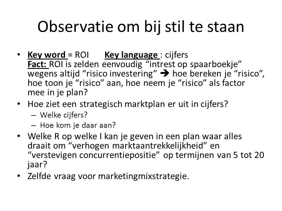 """Observatie om bij stil te staan • Key word = ROI Key language : cijfers Fact: ROI is zelden eenvoudig """"intrest op spaarboekje"""" wegens altijd """"risico i"""