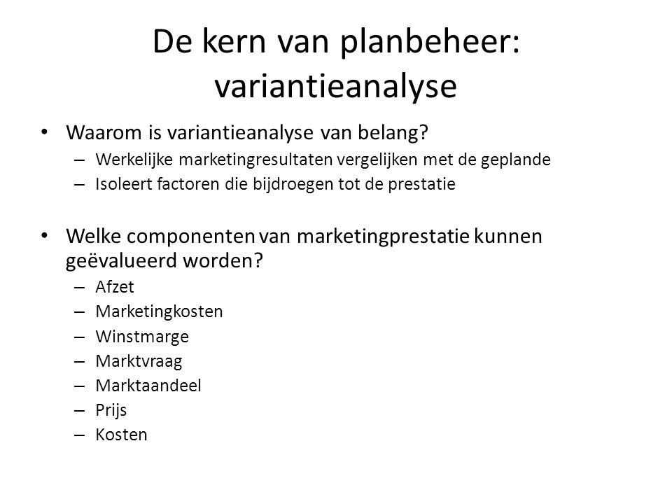 De kern van planbeheer: variantieanalyse • Waarom is variantieanalyse van belang? – Werkelijke marketingresultaten vergelijken met de geplande – Isole
