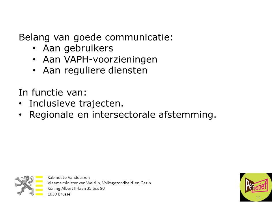 14 Belang van goede communicatie: • Aan gebruikers • Aan VAPH-voorzieningen • Aan reguliere diensten In functie van: • Inclusieve trajecten. • Regiona