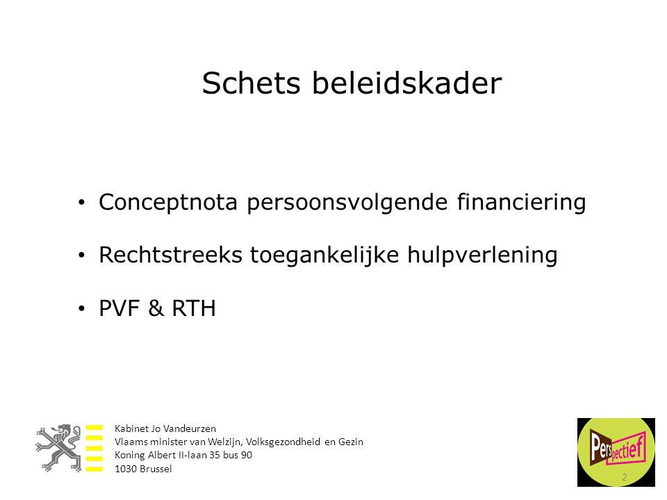 • Conceptnota persoonsvolgende financiering • Rechtstreeks toegankelijke hulpverlening • PVF & RTH Schets beleidskader 2 Kabinet Jo Vandeurzen Vlaams