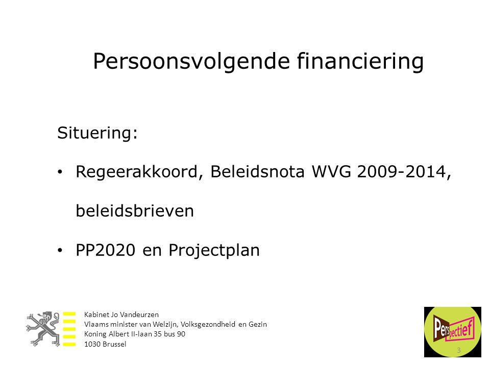 3 Situering: • Regeerakkoord, Beleidsnota WVG 2009-2014, beleidsbrieven • PP2020 en Projectplan Persoonsvolgende financiering Kabinet Jo Vandeurzen Vl