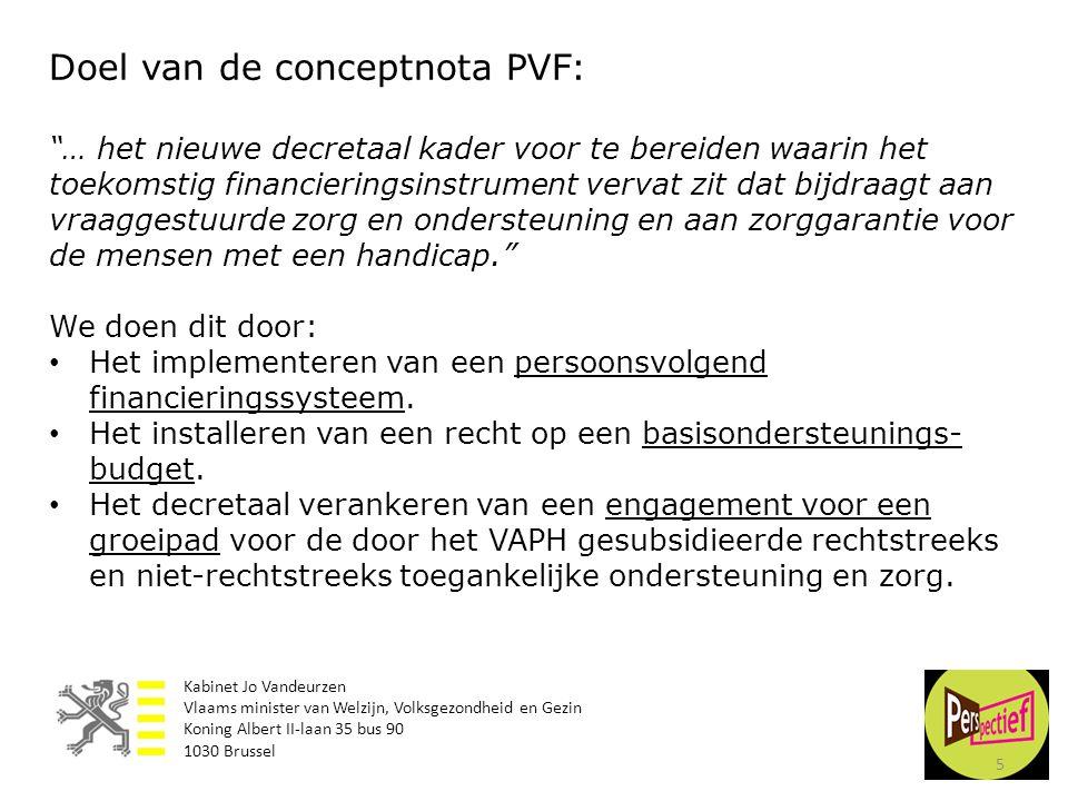"""5 Doel van de conceptnota PVF: """"… het nieuwe decretaal kader voor te bereiden waarin het toekomstig financieringsinstrument vervat zit dat bijdraagt a"""