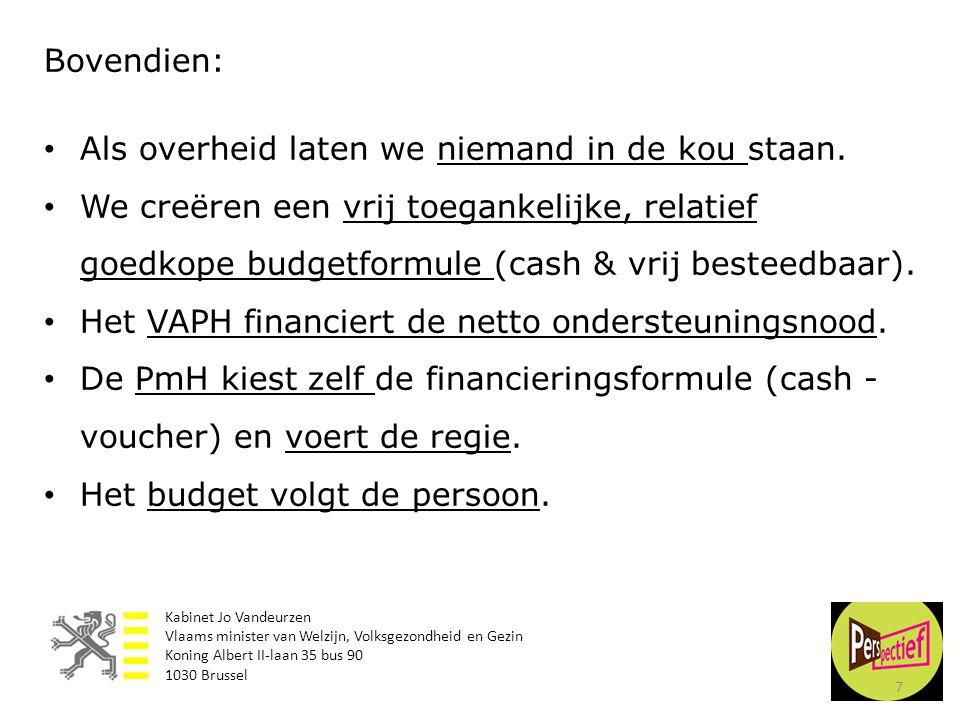 7 Bovendien: • Als overheid laten we niemand in de kou staan. • We creëren een vrij toegankelijke, relatief goedkope budgetformule (cash & vrij bestee