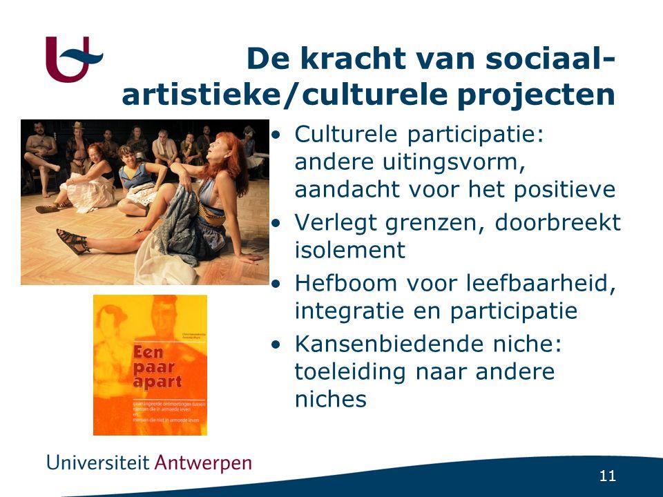 11 De kracht van sociaal- artistieke/culturele projecten •Culturele participatie: andere uitingsvorm, aandacht voor het positieve •Verlegt grenzen, do