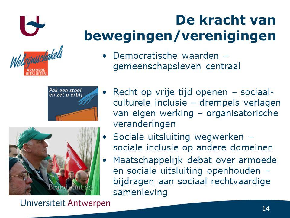 14 De kracht van bewegingen/verenigingen •Democratische waarden – gemeenschapsleven centraal •Recht op vrije tijd openen – sociaal- culturele inclusie