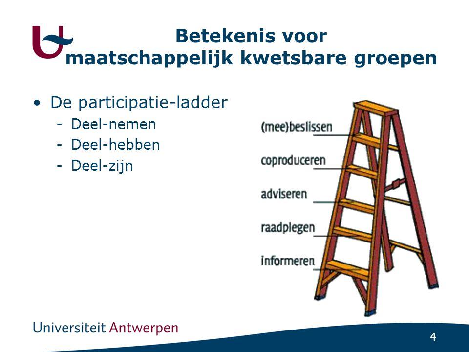 4 Betekenis voor maatschappelijk kwetsbare groepen •De participatie-ladder -Deel-nemen -Deel-hebben -Deel-zijn