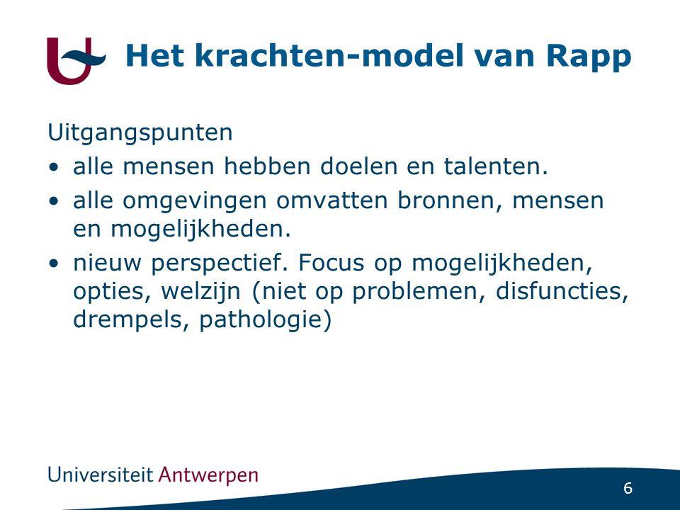 6 Het krachten-model van Rapp Uitgangspunten •alle mensen hebben doelen en talenten. •alle omgevingen omvatten bronnen, mensen en mogelijkheden. •nieu