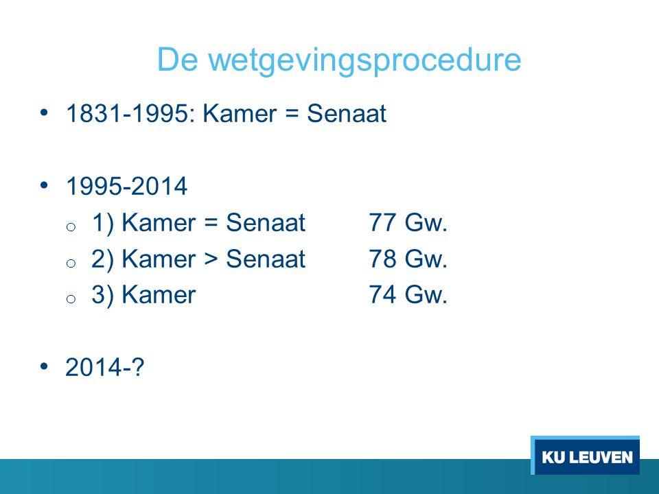De wetgevingsprocedure • 1831-1995: Kamer = Senaat • 1995-2014 o 1) Kamer = Senaat77 Gw.