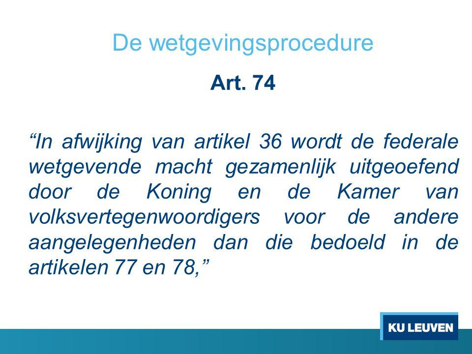 De wetgevingsprocedure Art.