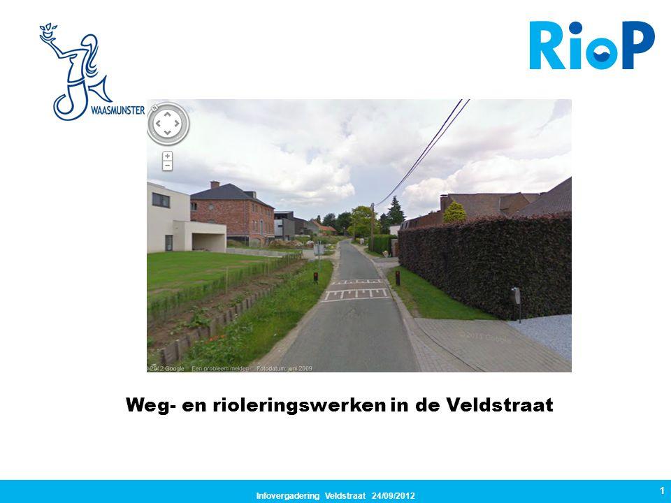 Infovergadering Veldstraat 24/09/2012 1 Weg- en rioleringswerken in de Veldstraat