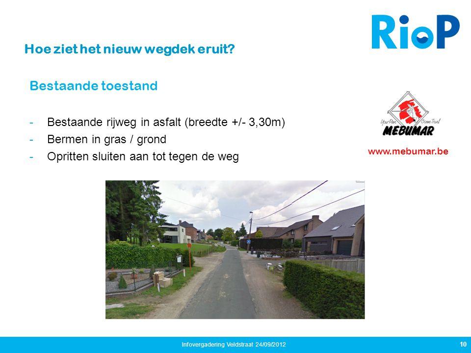 Bestaande toestand -Bestaande rijweg in asfalt (breedte +/- 3,30m) -Bermen in gras / grond -Opritten sluiten aan tot tegen de weg 10 Infovergadering V