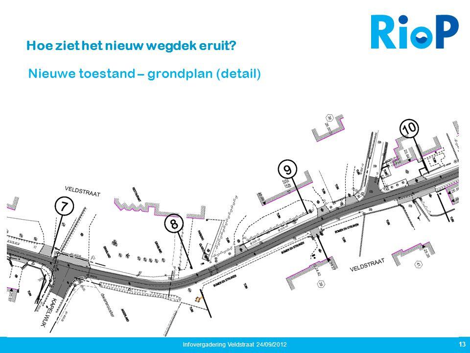 Hoe ziet het nieuw wegdek eruit? Nieuwe toestand – grondplan (detail) 13 Infovergadering Veldstraat 24/09/2012