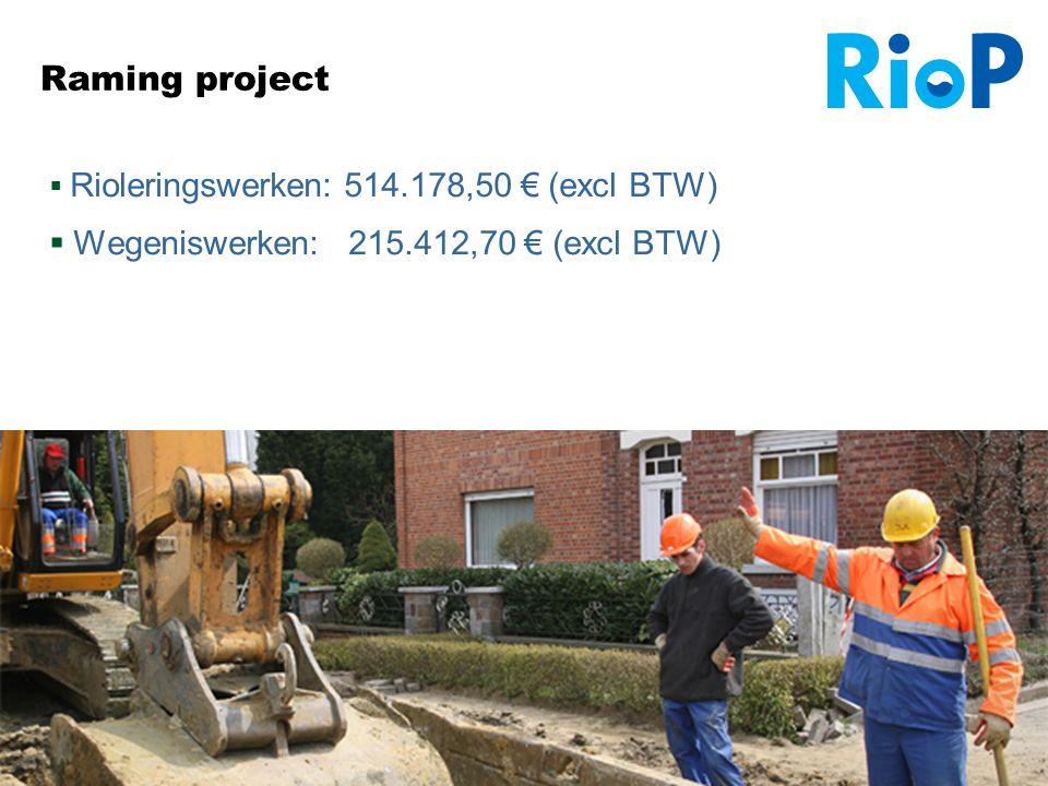 Infovergadering Veldstraat 24/09/2012 15 Raming project  Rioleringswerken: 514.178,50 € (excl BTW)  Wegeniswerken: 215.412,70 € (excl BTW)