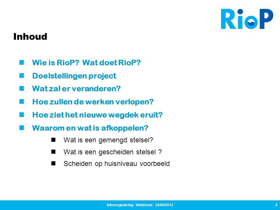 Infovergadering Veldstraat 24/09/2012 2  Wie is RioP? Wat doet RioP?  Doelstellingen project  Wat zal er veranderen?  Hoe zullen de werken verlope