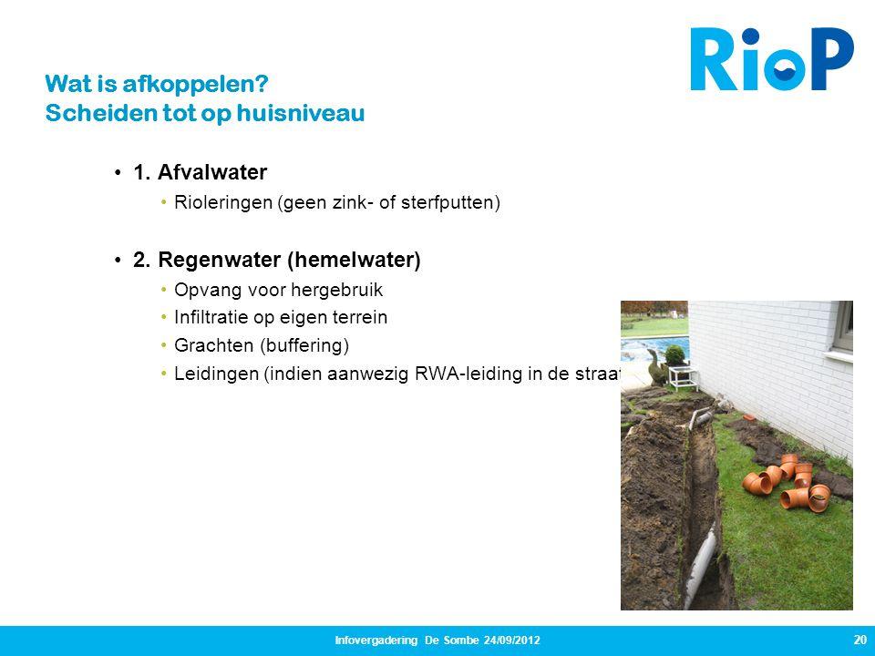 20 •1. Afvalwater •Rioleringen (geen zink- of sterfputten) •2. Regenwater (hemelwater) •Opvang voor hergebruik •Infiltratie op eigen terrein •Grachten