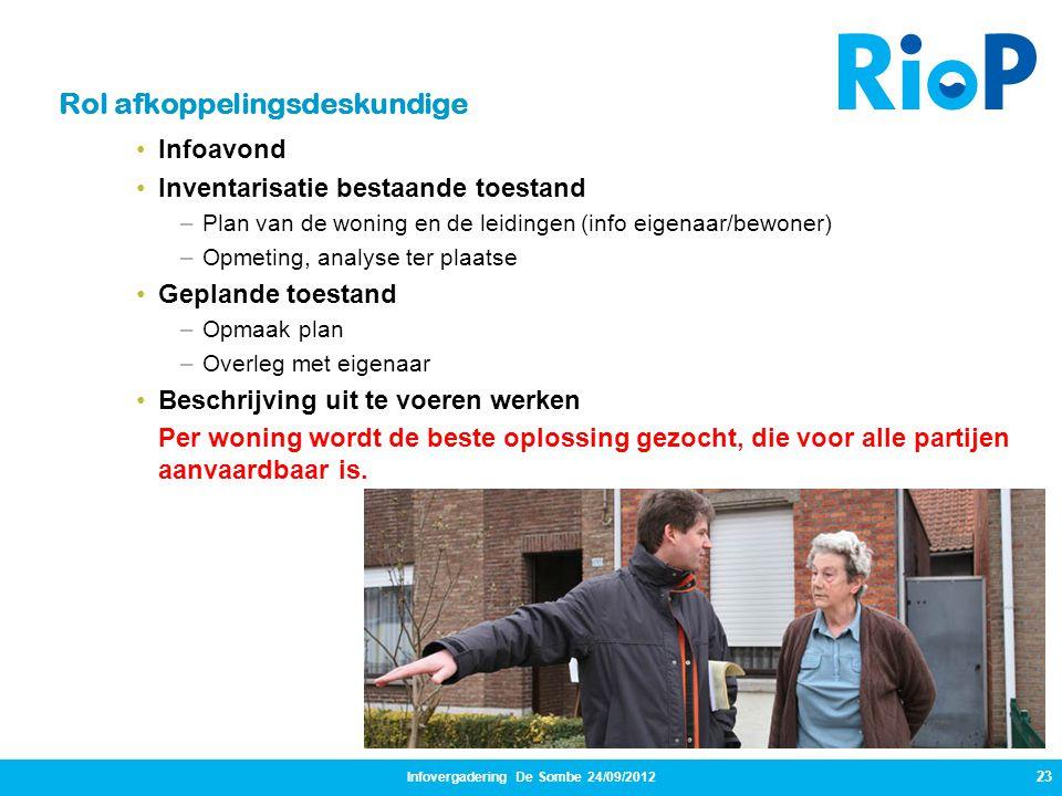 Infovergadering De Sombe 24/09/2012 23 Rol afkoppelingsdeskundige •Infoavond •Inventarisatie bestaande toestand –Plan van de woning en de leidingen (i