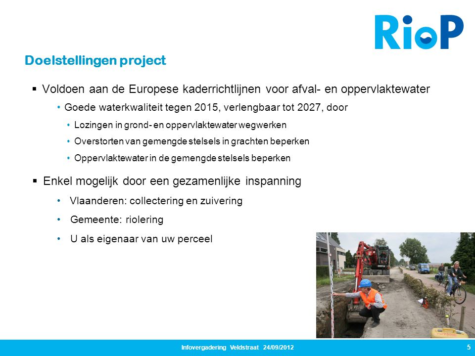 Infovergadering Veldstraat 24/09/2012 5  Voldoen aan de Europese kaderrichtlijnen voor afval- en oppervlaktewater •Goede waterkwaliteit tegen 2015, v