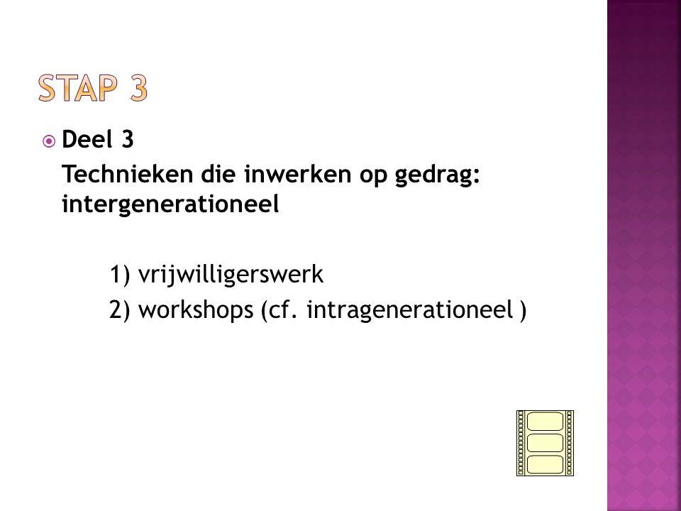  Deel 3 Technieken die inwerken op gedrag: intergenerationeel 1) vrijwilligerswerk 2) workshops (cf.