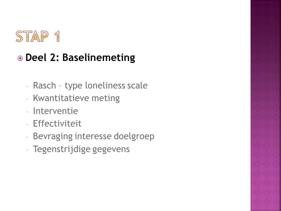  Deel 2: Baselinemeting - Rasch – type loneliness scale - Kwantitatieve meting - Interventie - Effectiviteit - Bevraging interesse doelgroep - Tegenstrijdige gegevens