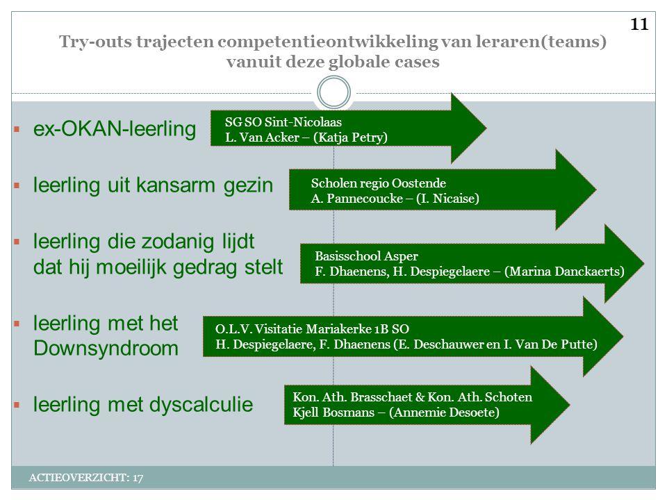 Try-outs trajecten competentieontwikkeling van leraren(teams) vanuit deze globale cases ACTIEOVERZICHT: 17  ex-OKAN-leerling  leerling uit kansarm g