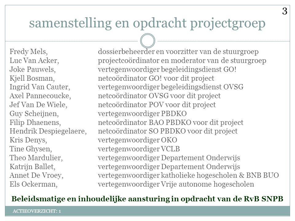 samenstelling en opdracht projectgroep ACTIEOVERZICHT: 1 Fredy Mels,dossierbeheerder en voorzitter van de stuurgroep Luc Van Acker,projectcoördinator