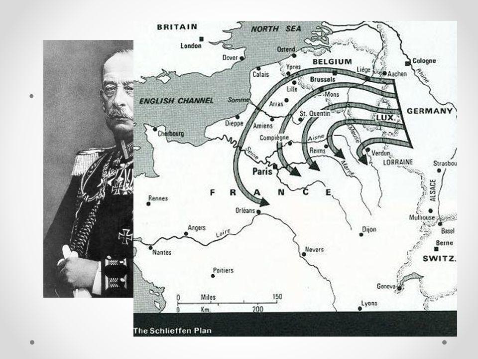 Het Von Schlieffenplan • Duitsland wilde een snelle en korte oorlog. Waarom? o - wapenwedloop
