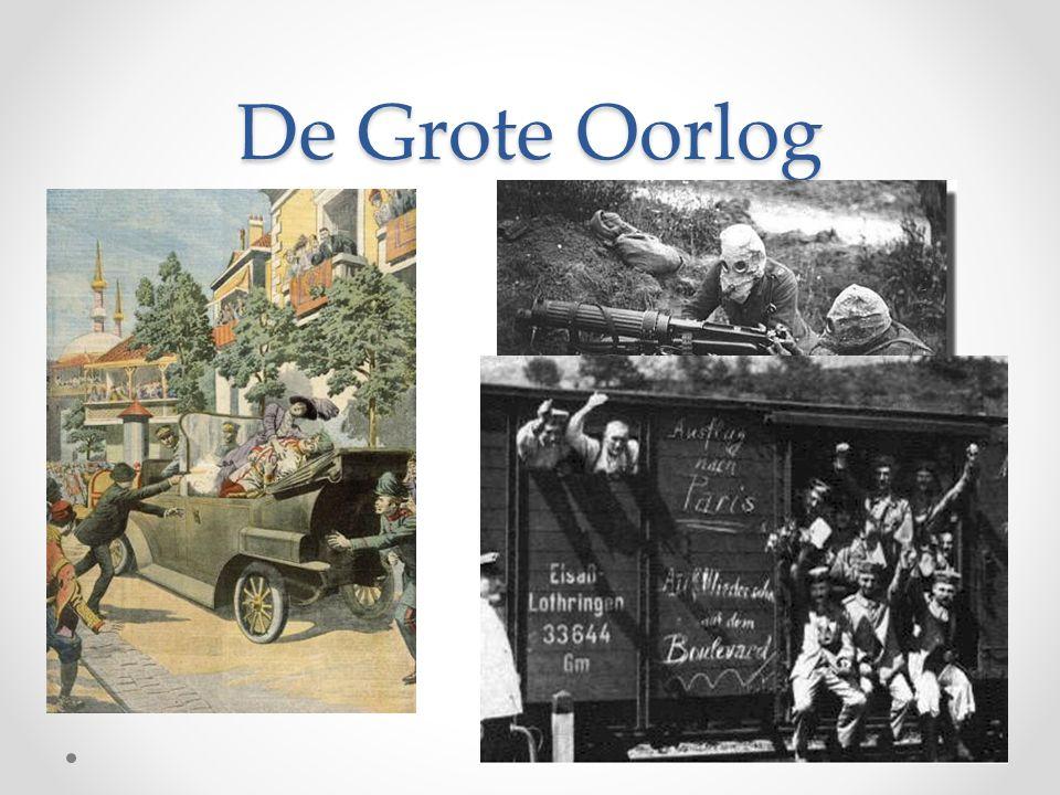 De Eerste Wereldoorlog (directe aanleiding) • 28 juni 1914  o Oostenrijkse kroonprins Frans Ferdinand en zijn vrouw Sophie bezoeken de Oostenrijkse provincie Bosnië.