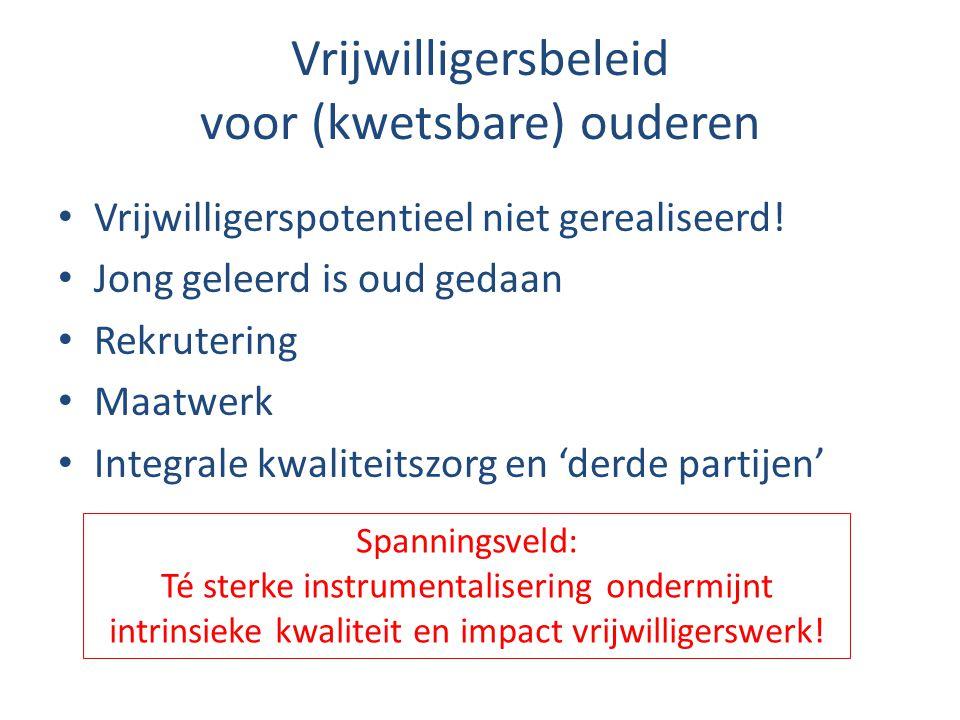 Vrijwilligersbeleid voor (kwetsbare) ouderen • Vrijwilligerspotentieel niet gerealiseerd! • Jong geleerd is oud gedaan • Rekrutering • Maatwerk • Inte