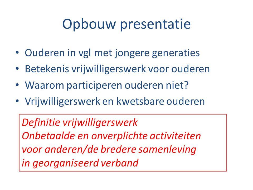 Opbouw presentatie • Ouderen in vgl met jongere generaties • Betekenis vrijwilligerswerk voor ouderen • Waarom participeren ouderen niet? • Vrijwillig