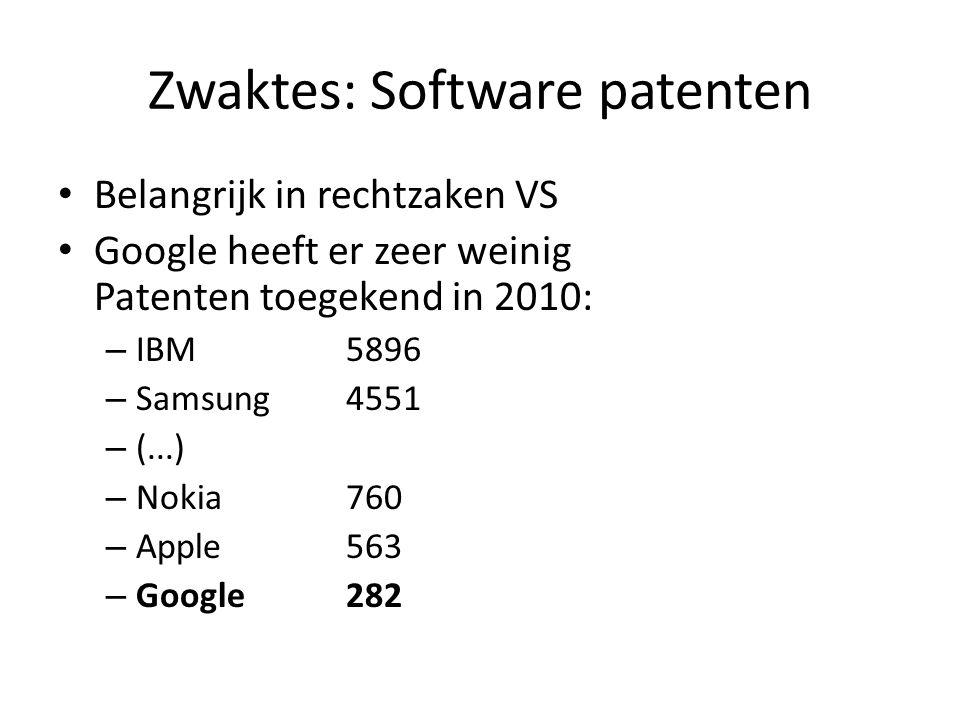 Zwaktes: Software patenten • Belangrijk in rechtzaken VS • Google heeft er zeer weinig Patenten toegekend in 2010: – IBM5896 – Samsung4551 – (...) – N