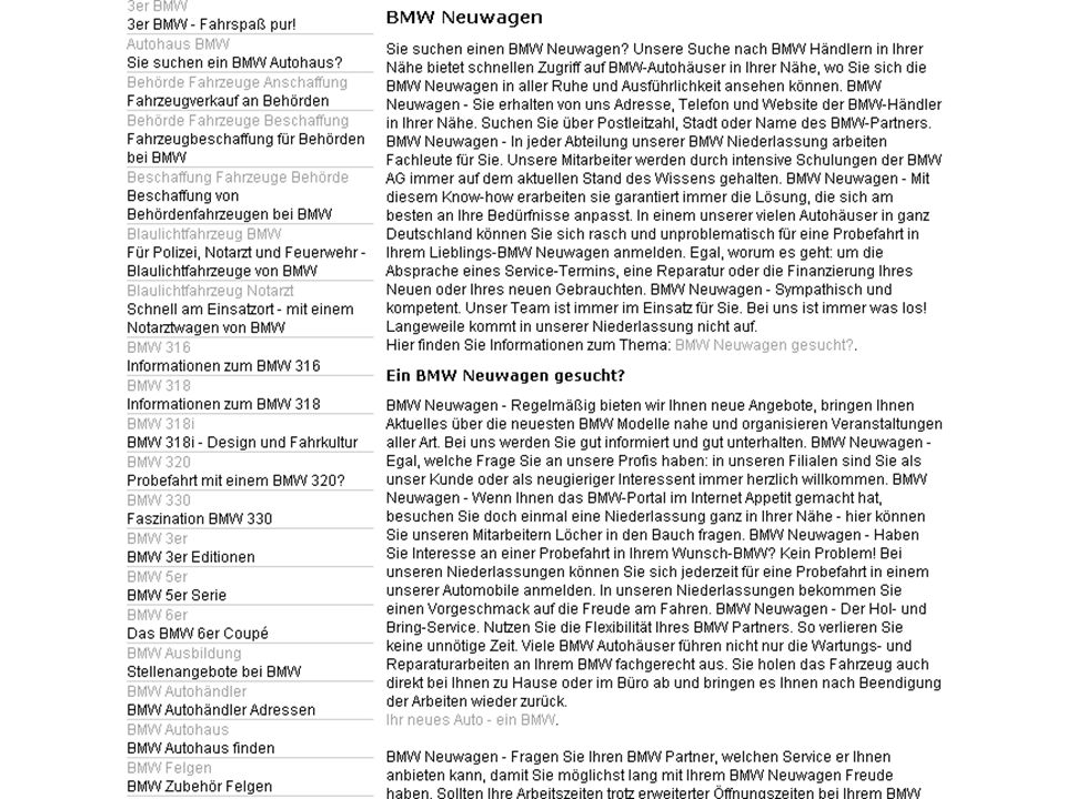 BMW Duitsland • SEO tegen de Google's Quality Guidelines: Make pages primarily for users, not for search engines.
