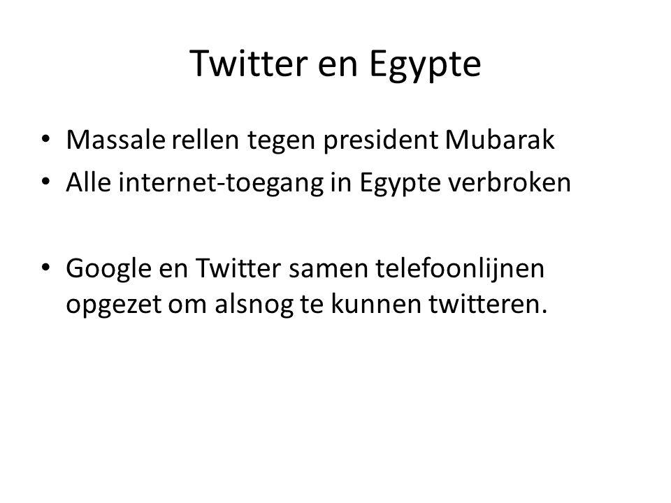 • Massale rellen tegen president Mubarak • Alle internet-toegang in Egypte verbroken • Google en Twitter samen telefoonlijnen opgezet om alsnog te kun