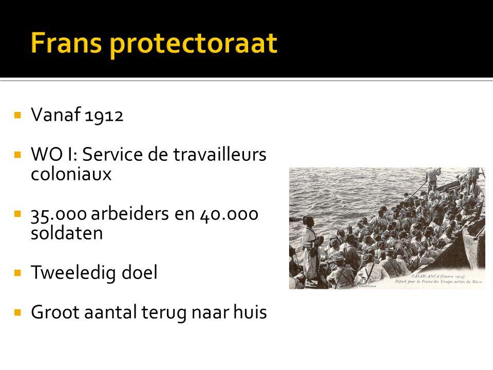  Vanaf 1912  WO I: Service de travailleurs coloniaux  35.000 arbeiders en 40.000 soldaten  Tweeledig doel  Groot aantal terug naar huis