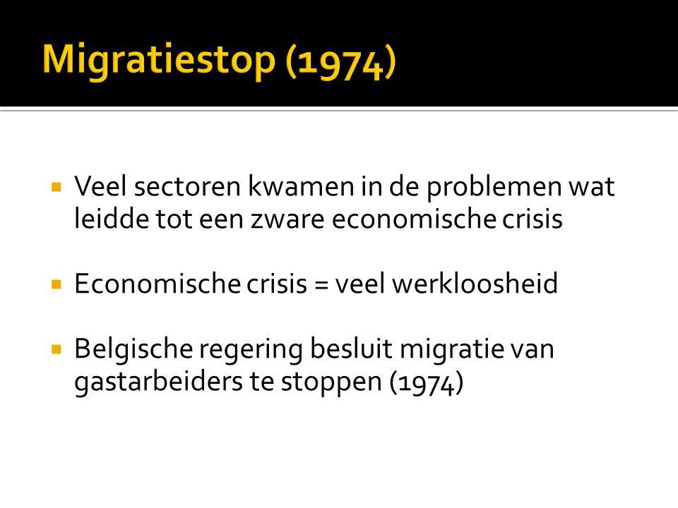  Veel sectoren kwamen in de problemen wat leidde tot een zware economische crisis  Economische crisis = veel werkloosheid  Belgische regering besluit migratie van gastarbeiders te stoppen (1974)