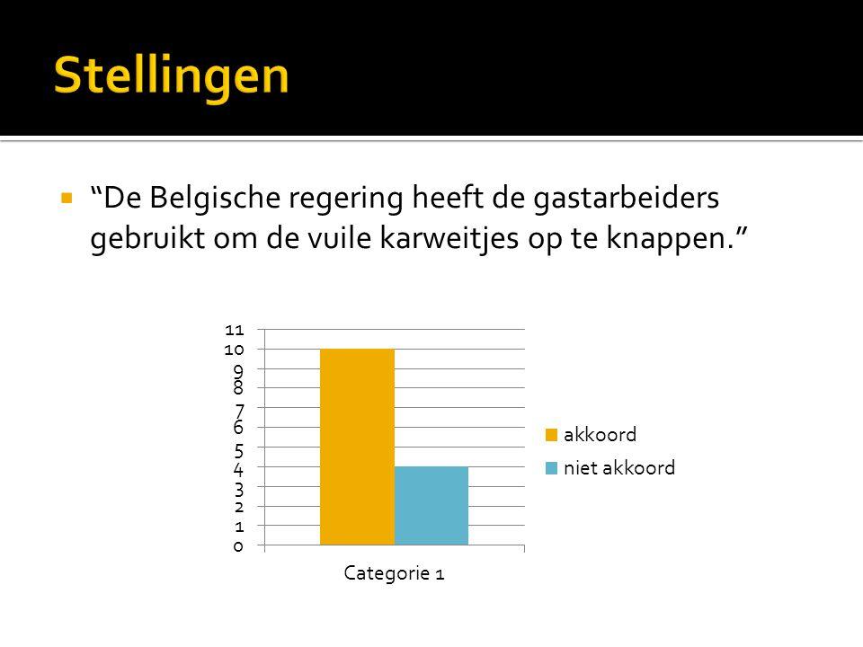  De Belgische regering heeft de gastarbeiders gebruikt om de vuile karweitjes op te knappen.