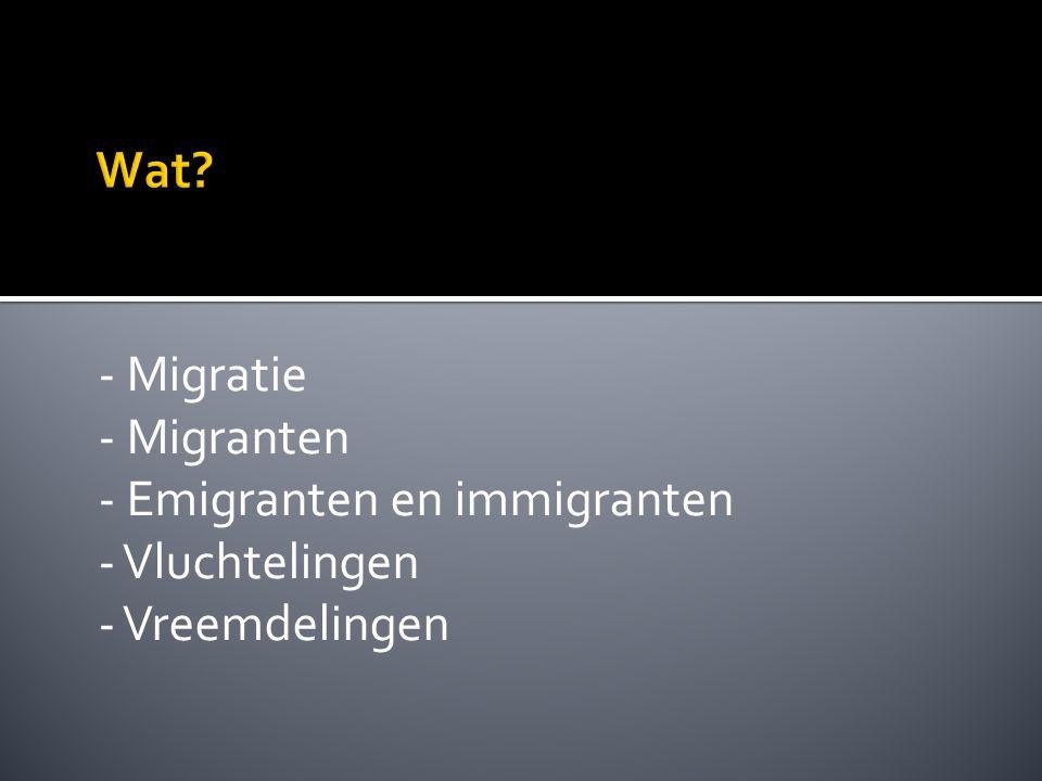 - Migratie - Migranten - Emigranten en immigranten - Vluchtelingen - Vreemdelingen