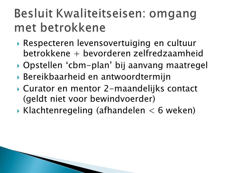  Respecteren levensovertuiging en cultuur betrokkene + bevorderen zelfredzaamheid  Opstellen 'cbm-plan' bij aanvang maatregel  Bereikbaarheid en antwoordtermijn  Curator en mentor 2-maandelijks contact (geldt niet voor bewindvoerder)  Klachtenregeling (afhandelen < 6 weken)