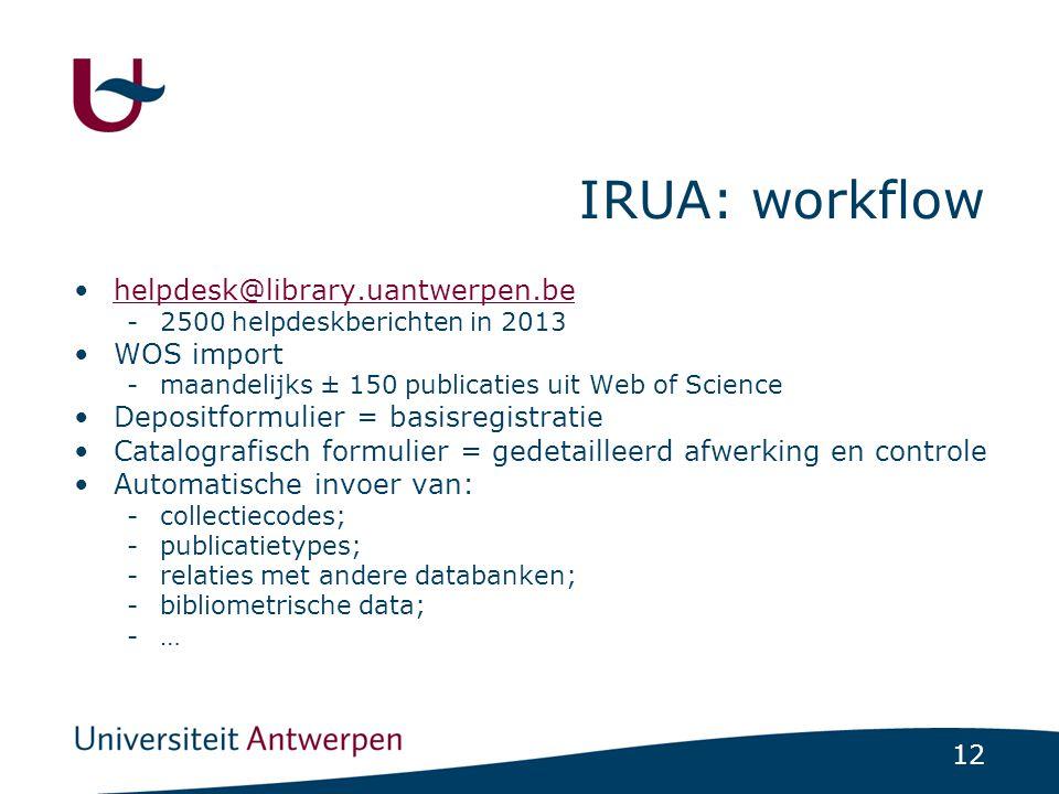 12 IRUA: workflow •helpdesk@library.uantwerpen.behelpdesk@library.uantwerpen.be -2500 helpdeskberichten in 2013 •WOS import -maandelijks ± 150 publica