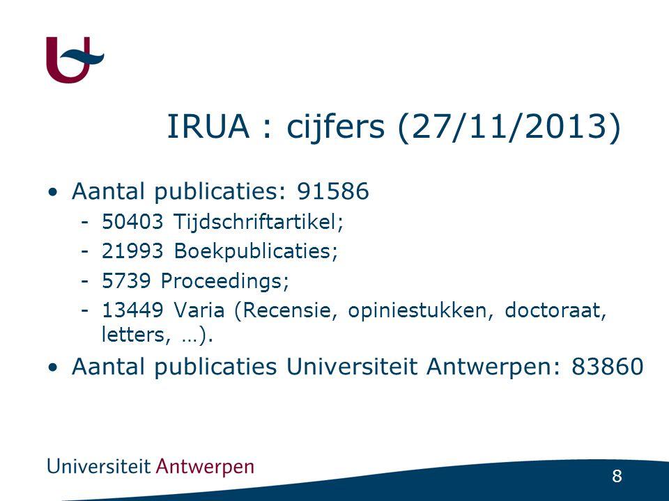 8 IRUA : cijfers (27/11/2013) •Aantal publicaties: 91586 -50403 Tijdschriftartikel; -21993 Boekpublicaties; -5739 Proceedings; -13449 Varia (Recensie,
