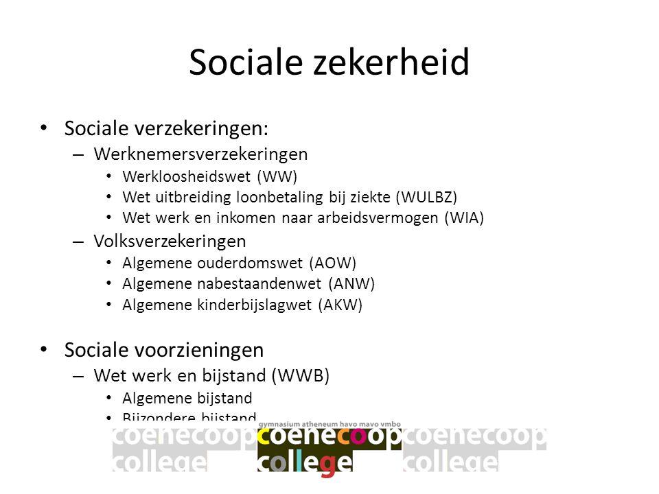Sociale zekerheid • Sociale verzekeringen: – Werknemersverzekeringen • Werkloosheidswet (WW) • Wet uitbreiding loonbetaling bij ziekte (WULBZ) • Wet w